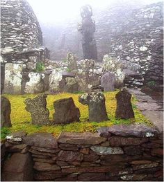 The graveyard on Skellig Michael. 6th century monks founded a small monastery here at the edge of the then known world, and it remained a monastery for 700 years. To breathe the purest air imaginable, to listen to the roar of the ocean and the cry of sea birds, is to be aware that this is what the ancients called a 'thin' place.  In such places man could feel closer to God than elsewhere.  This is one of the reasons why these sixth century holy men built where they did.