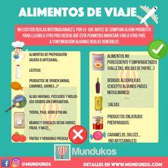Comida y alimentos para viajar al extranjero - Foto Mundukos Travelling Tips, Travel Tips, Learning Spanish, Travel Around The World, Infographics, Fun, Random, Ideas, Viajes