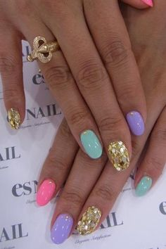 Nail Recipe Includes: 3 NEON Brite Pastels Colors 1 lonely GOLD dotted stud for each color & 2 Gold  GLITZY Accented ring fingers... voila. ... U have what u see. ..