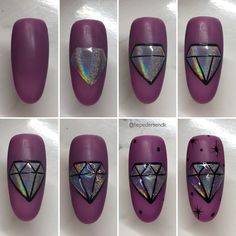 Nail Art Designs Videos, Nail Art Videos, Gem Nails, Bling Nails, Nail Art Hacks, Nail Art Diy, Cute Nails, Pretty Nails, Nail Dipping Powder Colors