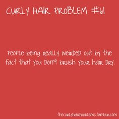 I literally was asked 3 times today by 3 different people if I brushed my hair every day. Clearly you've never dealt with curly hair if you think that'd be a good idea. Curly Girl Problems, Curly Hair Styles, Natural Hair Styles, Hair Issues, Hair Quotes, Natural Curls, Hair Hacks, Hair Tips, Up Girl