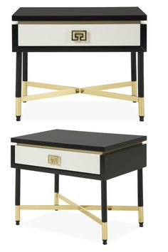 The Bologna collection exudes Hollywood glamour. This chic side table features cream and black lacquered surfaces, accented with polished brass detailing and a sleek cross base, elevating its luxurious appeal.