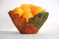 Upcycling old doilies to orange and green crochet design by undun, €42.00
