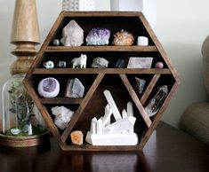 One of a kind handmade hexagon wood wall shelf with crystal collection, wood crystal sculpture and handy maiden arctic fox - Wood Diy Crystal Shelves, Wood Wall Shelf, Crystal Decor, Crystals And Gemstones, Diy Furniture, Declutter, Feng Shui, Diy Crafts, Crafty
