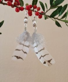 Snowflake Bobwhite Quail Feather Earrings by TheQuailCottage on Etsy