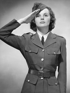 Photographic Print: Woman in Military Uniform Saluting Poster by George Marks : 24x18in