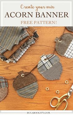fall fabric crafts DIY fabric acorn banner with a free pattern Autumn Crafts, Thanksgiving Crafts, Holiday Crafts, Thanksgiving Banner, Fall Banner, Diy Banner, Fall Garland, Banner Crafting, Fall Bunting