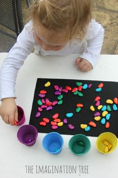 Sorting-colored-magic-beans-activity: This activity requires the use of pinch, opposition, and object manipulation of the hand.