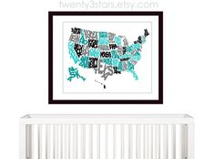United States Typography Map Art, Written US States, Choose Your Own Colors to coordinate to any room, Playroom Nursery Digital Art Print, Grey and Aqua Boy's Print
