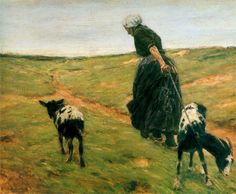 Page: Woman with goats  Artist: Max Liebermann