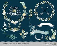 Couronne de mariage et de la Couronne de fleurs clipart collection : coloriée 14 vecteur, PNG, images JPG / d