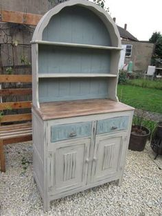 Painted furniture on pinterest annie sloan wax and dark wax for Grey and duck egg blue kitchen