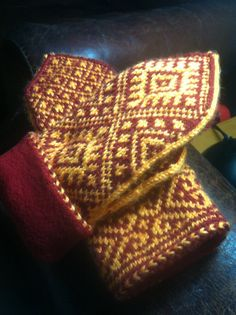 Stranded hand knit fleece lined mittens with a by Woolycricket, $55.00