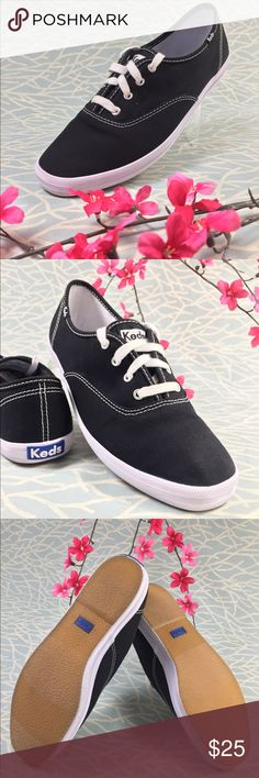 Black White Keds 8M Sneaker Black Keds with white stitching size 8.   Only worn once so in near perfect condition :) Keds Shoes Sneakers