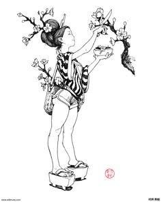 Ink Pen Drawings, Drawing Sketches, Character Design Animation, Character Art, Japon Illustration, Ink Illustrations, Character Design Inspiration, Ink Art, Manga Art