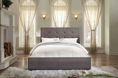 Amazon.com: Homelegance 1890N-1 Queen Size Upholstered Bed, Grey Fabric: Furniture & Decor