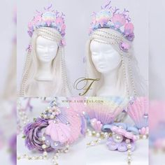 Custom made pastel mermaid crown. My client wanted a crown to match her Lolita dress. I hand sculpted macaron sea shells and ornaments in pastel colors. I drizzled big and small swarovski crystals and pearls all over to give it an even sweeter look. Mermaid Crown, Mermaid Princess, Kawaii Fashion, Lolita Fashion, Mermaid Parade, Estilo Lolita, Diy Crown, Pastel Goth, Headdress