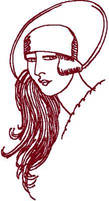 Redwork Flapper #8 Embroidery Design