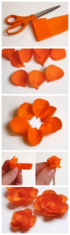 joybobo: Make flowers from crepe paper