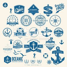 retro nautical badges and labels royalty-free stock vector art