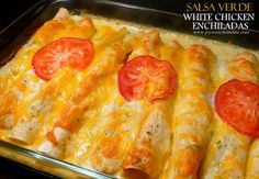 Joyously Domestic | Salsa Verde White Chicken Enchiladas. A very simple, yet flavorful chicken filling with a green salsa cream sauce (no canned soups in this recipe). Enchilada perfection!