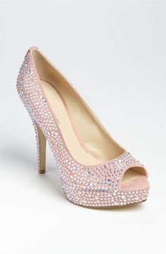 Enzo Angiolini pink fabric covered in white rhinestones peep toe pump - also comes in black fabric with black rhinestones and white fabric with aurora borealis rhinestones. all three are pretty, sparkly & flirty fun!