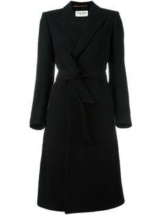 Saint Laurent belted long length coat