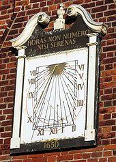 SSW facing, vertical declining sundial on Moot Hall, Aldeburgh, Suffolk