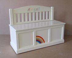 Wooden Toy Chest-Bench-Antique White-Rainbow by weaverwood on Etsy