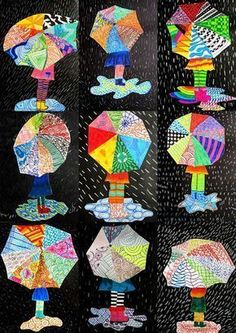 immagin @ rti: textures on umbrella - Kuvataide - Funny Spring Art Projects, School Art Projects, Art School, Club D'art, Classe D'art, Umbrella Art, Umbrella Crafts, 3rd Grade Art, Kindergarten Art