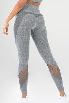 99c4a0a1faad82 Women Gray Splicing Mesh Side High Waist Yoga Sports Leggings - L Cheap  Leggings, Leggings