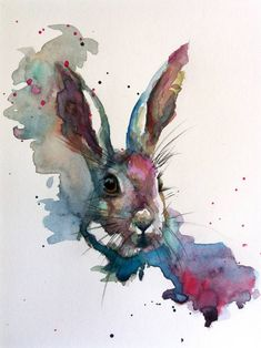 March hare painting by sarah stokes saatchi art. Watercolor Art Diy, Watercolor Art Paintings, Watercolor Animals, Animal Paintings, Watercolours, Portrait Paintings, Abstract Portrait, Painting Abstract, Acrylic Paintings