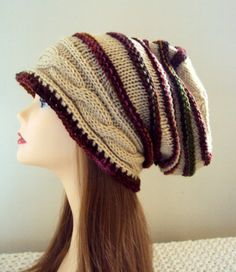 Autumn Colors Slouchy Beanie Cabled Chunky Hat Baggy Hat Oversized Slouch Beanie Beret Men Women Fall Winter Clothing Accessories Gift Ideas by GrahamsBazaar, $38.99
