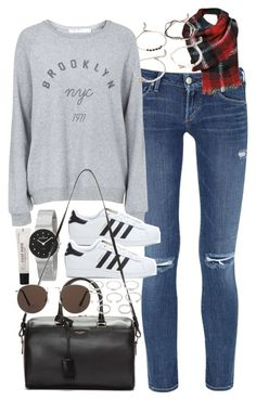 """""""Outfit for travelling"""" by ferned ❤ liked on Polyvore featuring Citizens of Humanity, Topshop, adidas, Forever 21, Skagen, Yves Saint Laurent and MANGO"""