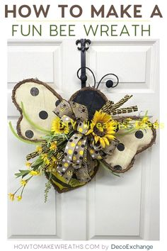 This quick and fun bee wreath with sunflowers does NOT take long to make. You'll… This quick and fun bee wreath with sunflowers does NOT take long to make. You'll see from the video that we put this together in less than 15 minutes! Summer Crafts, Holiday Crafts, Diy And Crafts, Wood Crafts, Wreath Crafts, Diy Wreath, Wreath Making, Wreath Ideas, Diy Spring Wreath