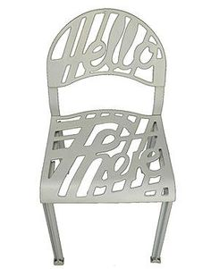"""Hello there"". A vintage, original 1978 edition of the post modern design by Jeremy Harvey for Artifort / Holland. The chair is made of white enameled, molded aluminum. (Quintessentia)"