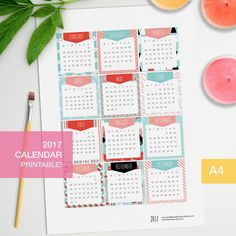 Printable 2017 calendar for bujo planners! Can also be printed on sticker paper to make them stickers! For even more colorful calendars go here: https://www.etsy.com/shop/BumbleBeasy?section_id=20292273 _______ * THIS PURCHASE IS FOR A INSTANT DIGITAL DOWNLOAD. NO PHYSICAL ITEM WILL BE SENT* __