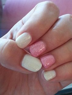 Cute gel manicure with sparkels
