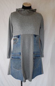 MUPTURN DressCotton Blend t-Shirting/ Repurposed Denim - love the pockets Recycled Fashion, Recycled Denim, Recycled Clothing, Alter Pullover, Diy Clothes Refashion, Sweater Refashion, Denim Ideas, Denim Crafts, Altered Couture