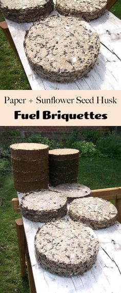These fire/fuel briquettes are made by compressing a mix of paper pulp and sunflower seed husk.