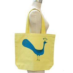Mrs Peacock Tote Yellow now featured on Fab.