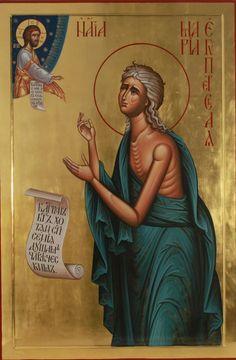 Saint Mary of Egypt Orthodox Catholic, Orthodox Christianity, Byzantine Icons, Byzantine Art, Religious Icons, Religious Art, Santa Maria, St Mary Of Egypt, Egypt Tattoo