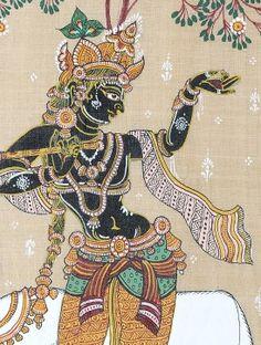 Multi-Color Shri Krishna Pattachitra on Silk 21in x 12in