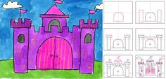 Art Projects for Kids: How To Draw a Castle. Includes step by step directions.