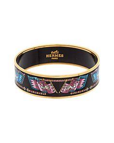 Hermes Black Printed Enamel Wide Bangle