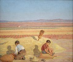 (Antonio López Torres) 1945 Óleo-Tabla 66 X 77 cm Niños en la era