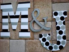 Large Wall Initials 13 5 Inch Painted Initials Set of 3 Etsy # Wood Letters Decorated, Painted Initials, Painting Wooden Letters, Painted Letters, Initial Wall, Letter Wall, Wall Initials, Wood Letter Crafts, Diy Letters