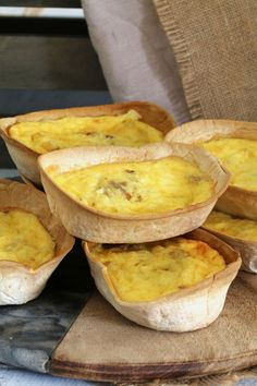 Super Easy Cheesy Egg and Bacon Tortilla Shell Quiches