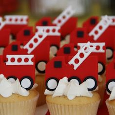 fire engine party cupcakes