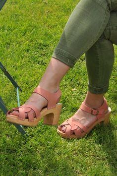 SOFIA rose - sandale bois et nubuck YLIN